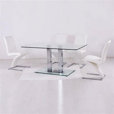 new black tempered glass dining table with 6 stylish pu