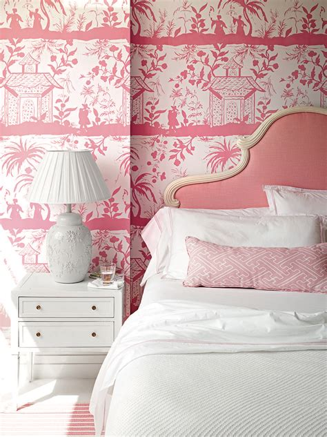 pink and white wallpaper for a bedroom pink chinoiserie bedroom with pink headboard 21139
