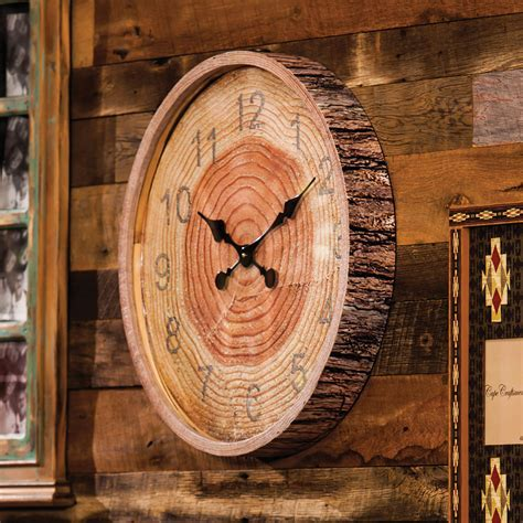 Round Wood Bark Wall Clock