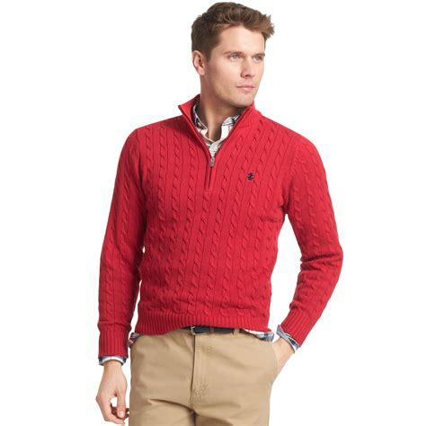 neck knit pullover izod sweater quarterzip mock neck cable knit pullover in