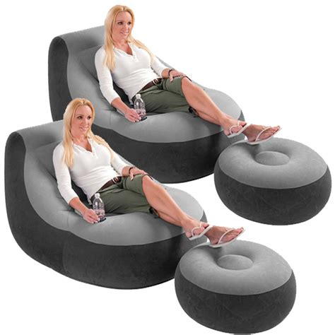 2 pack intex ultra lounge inflatable chair w ottoman sofa