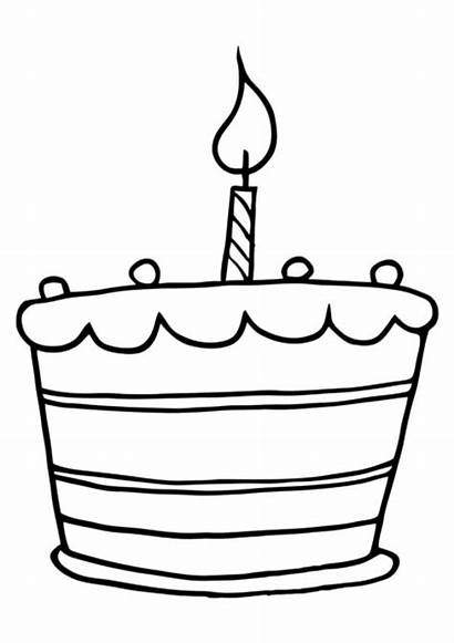 Coloring Cake Birthday Pages Candle Clipart Candles