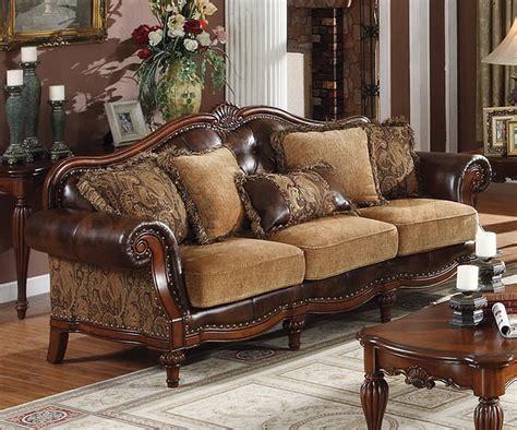 traditional living room fabric  wood trim curved sofa