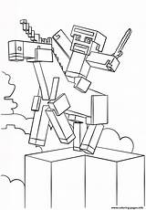 Minecraft Coloring Unicorn Pages Printable sketch template