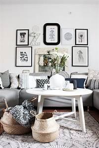Wohnzimmer Im Boho Style Mit Dekokrben Aus Seegras