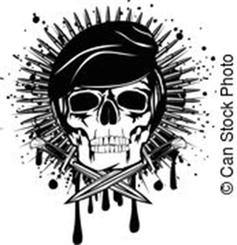 skull in beret wings and dagger vector illustration dagger wings barbed wire and skull in beret