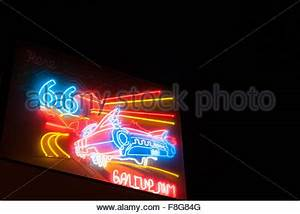 Neon Route 66 Sign Gallup New Mexico USA Stock