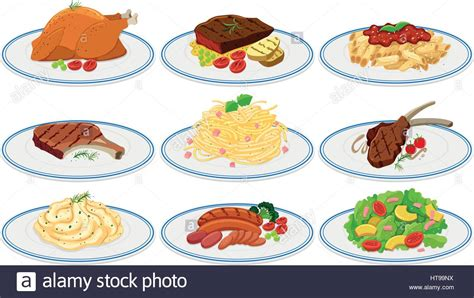 different types of food on the plates illustration stock