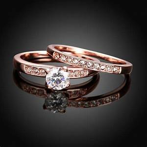 romantic punk vintage rose gold 585 color wedding couple With rose gold wedding rings women