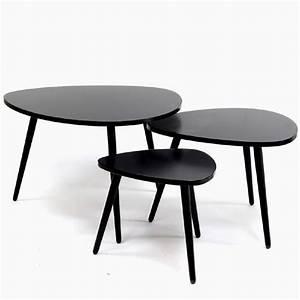 Table Basses Gigogne : table gigogne forme galet set de 3 couleur noire achat ~ Zukunftsfamilie.com Idées de Décoration