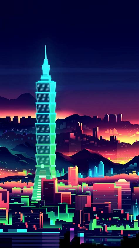 wallpaper taipei taiwan taipei  night artwork hd