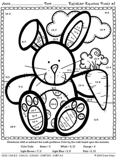 easter math color by numbers coloring pages math