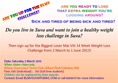 weight loss challenge flyer template loser mai viti suva