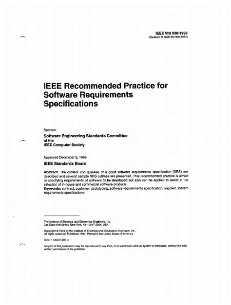 830-1993 - IEEE Recommended Practice for Software