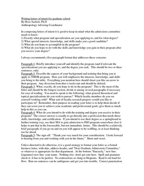 letter of intent for graduate school how to write a letter of intent for graduate
