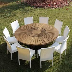 Table 16 Personnes : grande table ronde de jardin en teak massif real table ~ Teatrodelosmanantiales.com Idées de Décoration