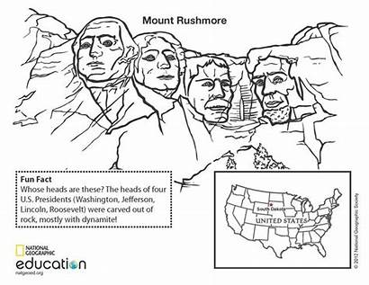 Rushmore Mount Coloring Geography Geographic History National