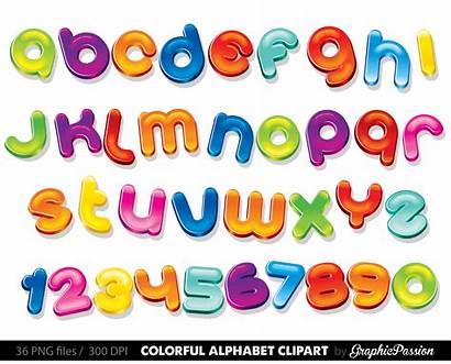 Alphabet Clipart Colourful Letters Clip Bubble Chalk