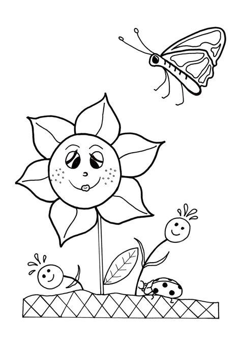 dancing flowers spring coloring sheet allfreekidscraftscom