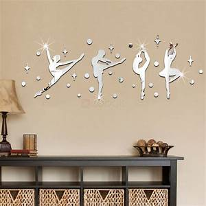 34pcs a set 3d ballerina dance wall mirror stickers With best mirror decals for walls