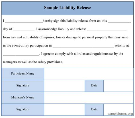 release of liability form template free printable liability release form sle form generic