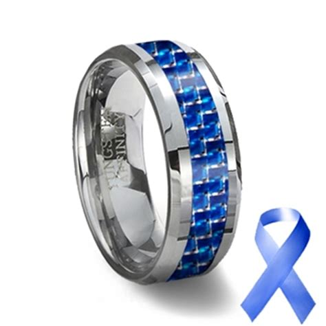tungsten carbide ring blue carbon fiber inlay blue