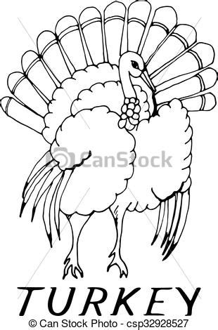 Hand draw a turkey in the style of a sketch on a black
