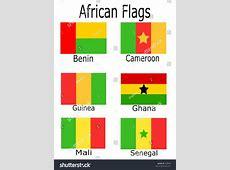 African Flags Benin Cameroon Guinea Ghana Stock Vector
