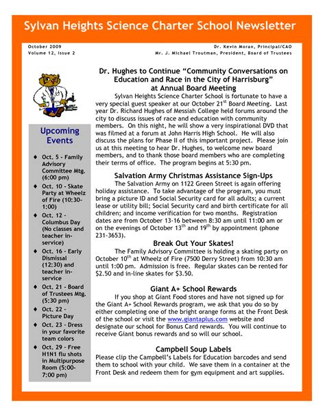 October School Newsletter Ideas