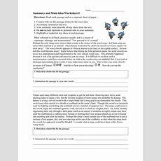 Summary And Main Idea Worksheet 2 Rtf