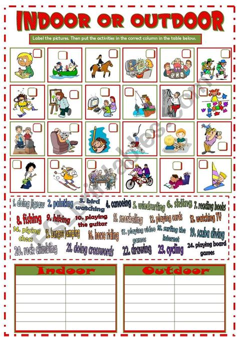 indoor  outdoor activities bw key esl worksheet