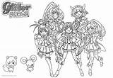 Glitter Force Coloring Pages Precure Characters Printable sketch template