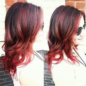 Dark Brown hair with cherry red highlights and ends -- By ...