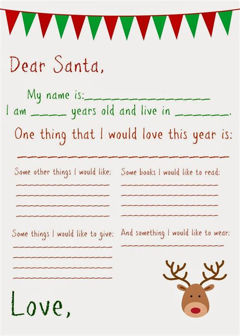 dear santa letter  printable christmas christmas
