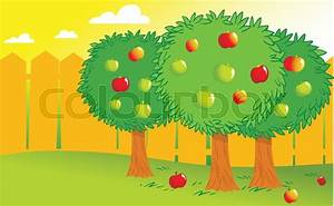 The Illustration Shows Few Apple Trees In The Garden