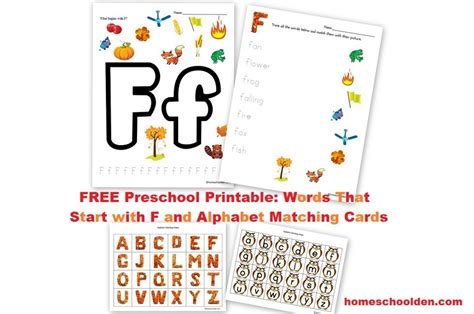 free preschool printable words that start with f 525 | Free Fall Preschool Printable Letter F 1024x679