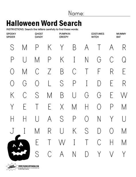 free printable halloween word search worksheet paging