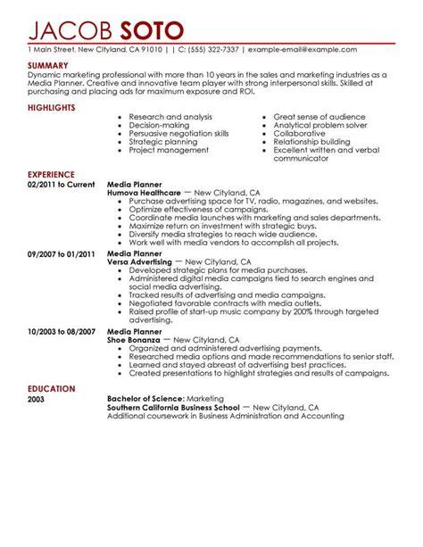 Media Planner Resume best media planner resume exle livecareer