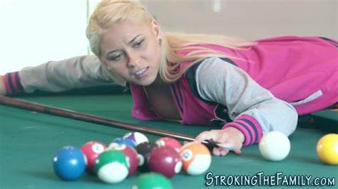 Timid Stepsis Marsha May Banged On Pool Table And Facial