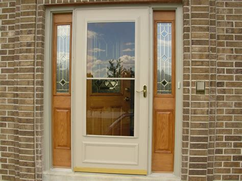 exterior door with white wooden frame and fiberglass