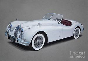 1957 Jaguar Xk140 Drawing By Paul Kuras