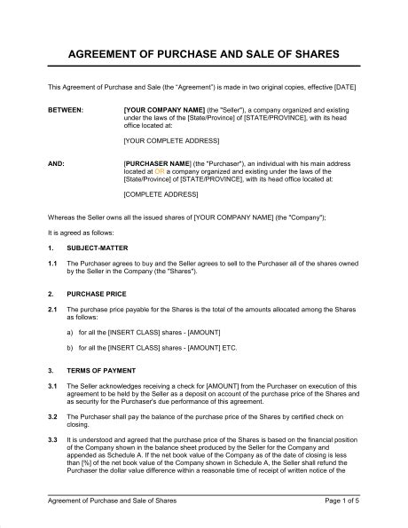 sale of business agreement form agreement of purchase and sale of shares template word