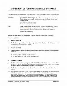 Agreement of Purchase and Sale of Shares Template – Word ...