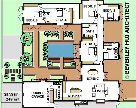 shaped house plans  pool   middle courtyard