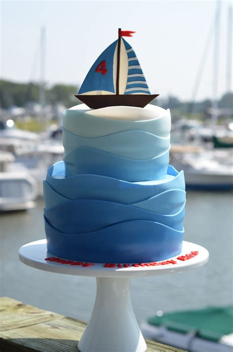 sailboat birthday cake  gradient colored waves