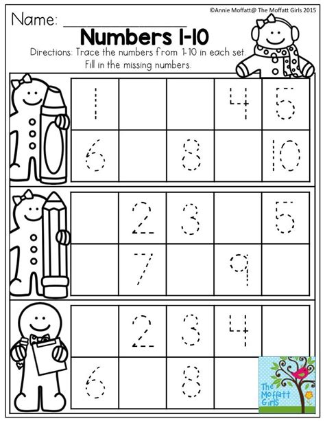 numbers 1 10 trace the numbers and fill in the missing