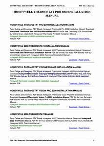 Honeywell Termostatos Thermostat Pro 8000 Manual De