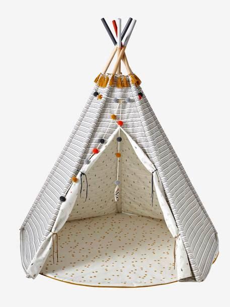 Kinderzimmer Tipi Vertbaudet by Tapis De Sol Rond Pour Tipi Blanc Moutarde Imprim 233