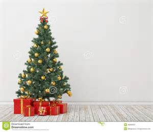 christmas tree with presents in the vintage room background stock illustration image 46999597