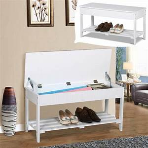 Storage Bench Shoe Organizer Seat Wood Rack Shelf Entryway ...
